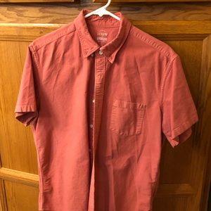 J Crew Mens Lg SS Red Oxford Cloth 𝐒𝐡𝐢𝐫𝐭